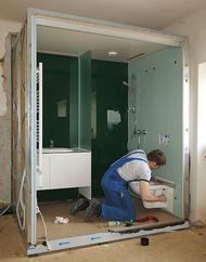 Montage der Einrichtungsgegenständ und Komplettierung der Sanitärausstattung.